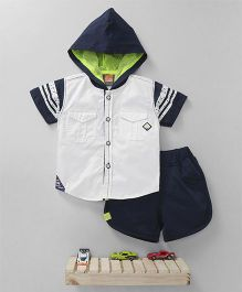 Little Kangaroos Half Sleeves Hooded Shirt And Shorts - White Navy Blue