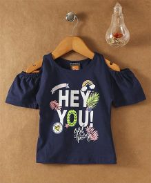 Little Kangaroos Cold Shoulder Tee Glittery Hey You Print - Navy