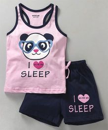 Doreme Racer Back Tee & Shorts Night Suit Teddy Print - Pink