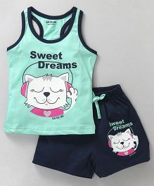 Doreme Racer Back Tee & Shorts Night Suit Sweet Dreams Print - Green