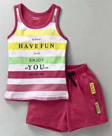 Doreme Racer Back Tee & Shorts Night Suit Quote Print - Dark Pink