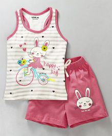 Doreme Racer Back Tee & Shorts Night Suit Bunny Print - Pink White