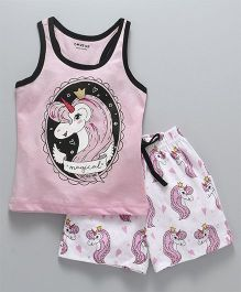 Doreme Sleeveless Night Suit Unicorn Print - Pink White