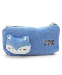 Animal Face Motif Pencil Pouch - Light Blue