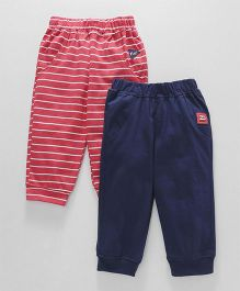 Little Kangaroos Full Length Lounge Pants Stripe Print Pack of 2 - Navy Red
