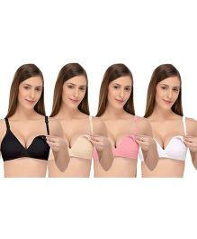 Fabme Nursing Maternity Feeding Seamless Bra Pack of 4 - Multi Color