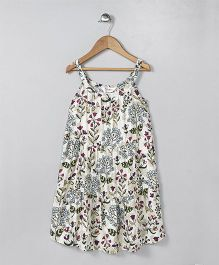 Ventra Flower Print Strap Dress - Off White