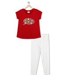 Raine And Jaine Emoji Print Top & Bottom Set - Red