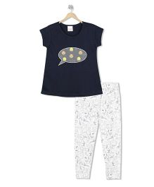 Raine And Jaine Emoji Print Top & Bottom Set - Navy