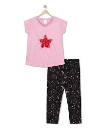 Raine And Jaine Star Print Top & Bottom Set - Pink