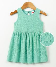 Babyhug Sleeveless Lace Design Frock - Sea Green