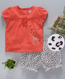 Babyhug Half Sleeves Knitted Top & Bloomer Shorts Giraffe Embroidery - Coral Off White