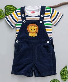 Babyhug Dungaree With Stripped T-Shirt - Blue