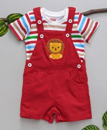 Babyhug Dungaree With Stripped T-Shirt - Red