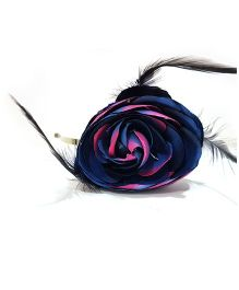 Aayera'S Nest Big Feather Flower Hairband - Blue