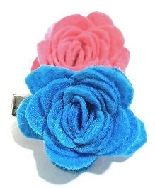Aayera'S Nest Rose Clips Pair - Blue & Pink