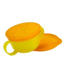 Richell Snack Bowl With Lid - Yellow Orange