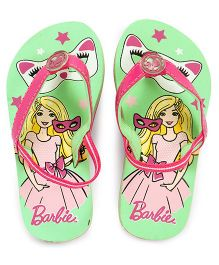 Barbie Flip Flops With Back Strap - Green Pink