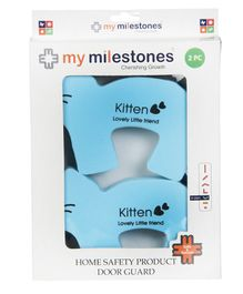 My Milestones Kitten Shaped Door Guard  Blue - 2 Pieces