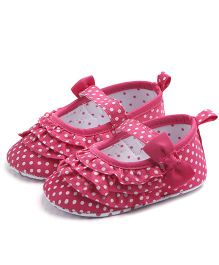 Dazzling Dolls Polka & Frill Mary Jane Booties - Dark Pink