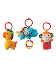 Infantino Tag Along Travel Pals Clip On Accessory Set of 3 Multi Color - 18 cm