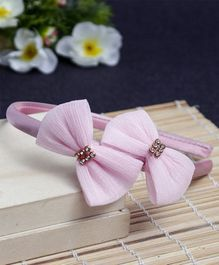 Babyhug Hair Band Bow Applique - Light Pink