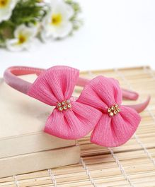 Babyhug Hair Band Bow Applique - Dark Pink