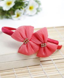 Babyhug Hair Band Bow Applique - Peach
