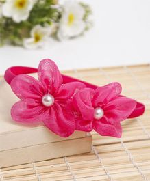 Babyhug Hair Band Floral Applique - Dark Pink