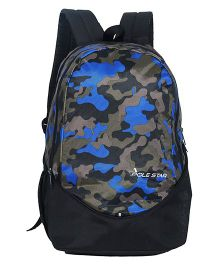 Polestar School Bag Camouflage Print Black Blue - Height 18 inches