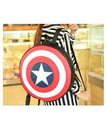 Polestar Captain America Shield Shaped Round Back Pack Red Blue - Height 15.7 inches