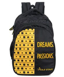 Polestar School Bag Text Print Yellow Black - Height 18 inches