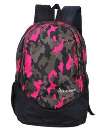 Polestar School Bag Camouflage Print Black Pink - Height 18 inches