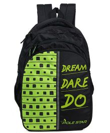 Polestar School Bag Text Print Green Black - Height 18 inches