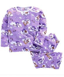 M'Andy Teddy Print Nightwear Set - Purple
