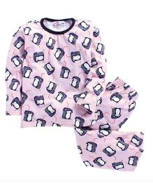 M'Andy Penguins Print Nightwear Set - Pink