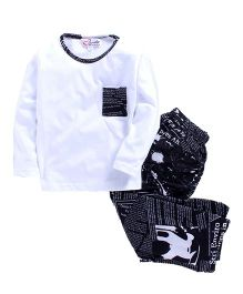 M'Andy Newspaper Theme Print Nightwear Set - White