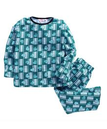 M'Andy Heart Print Nightwear Set - Blue