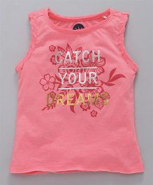 Vitamins Sleeveless Top Glittery Quote & Floral Print - Pink