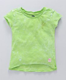 Vitamins Short Sleeves Top Embellished Tree Design - Green