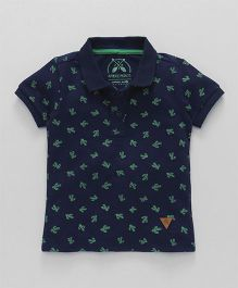 Vitamins Half Sleeves Polo T-Shirt Cactus Print - Navy