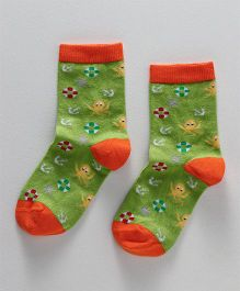 Mustang Quarter Length Socks Multi Design - Green Orange
