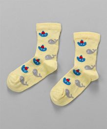 Mustang Quarter Length Socks Dolphin Design - Light Yellow