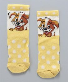 Mustang Quarter Length Socks Puppy Design - Yellow