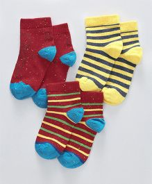 Mustang Ankle Length Socks Pack of 3 Pairs - Maroon Yellow & Blue