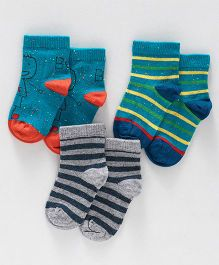 Mustang Ankle Length Socks Pack of 3 Pairs - Green Grey