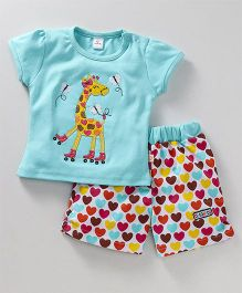 Olio Kids Short Sleeves Top & Shorts Set Giraffe Patch - Aqua Blue