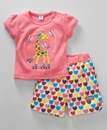 Olio Kids Short Sleeves Top & Shorts Set Giraffe Patch - Peach