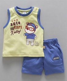 Olio Kids Sleeveless Tee & Shorts Set Little Racer Print - Light Yellow Blue