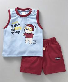 Olio Kids Sleeveless Tee & Shorts Set Little Racer Print - Aqua Maroon